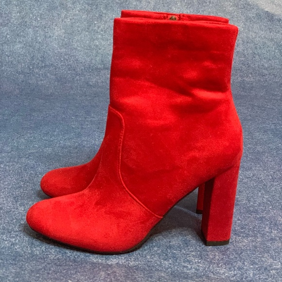 b362b165d52 Women's chunky red block heel ankle boots